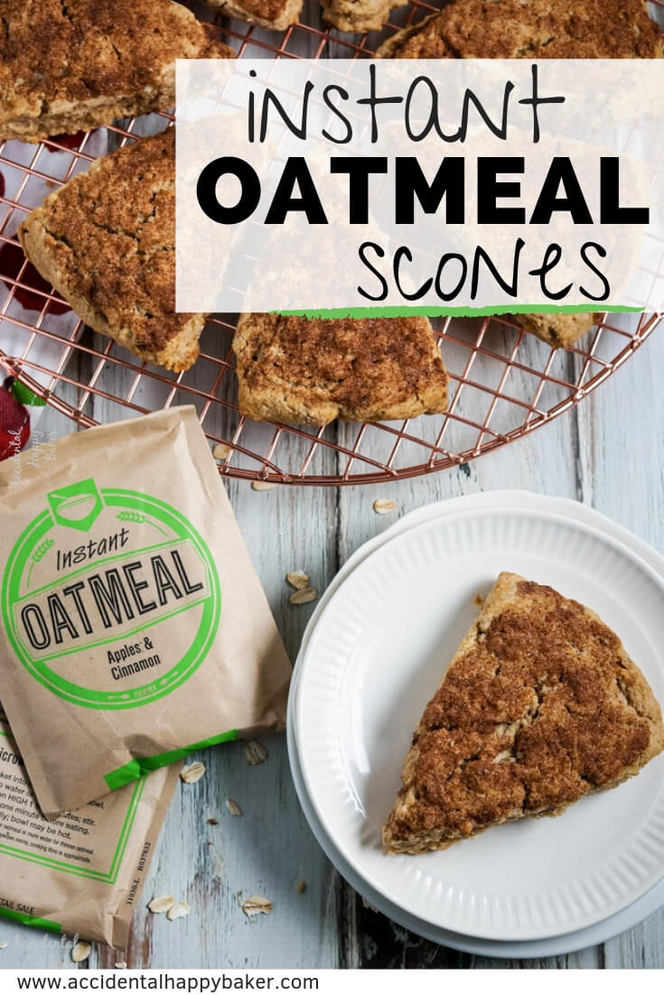These sweet and tender instant oatmeal scones are baked with a crunchy cinnamon sugar topping and made versatile by using instant oatmeal packets! #oatmealscones #instantoatmeal #sconesrecipe #bakinghack #accidentalhappybaker