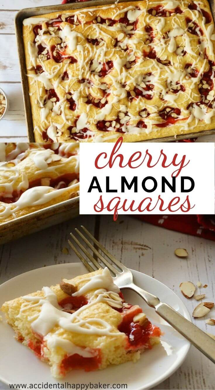 Cherry Almond Squares, this quick and easy dessert will feed a crowd and is so simple to make.