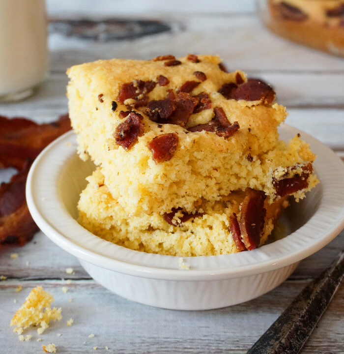 Maple Bacon Cornbread. Sweet and savory maple bacon cornbread, a simple twist on cornbread mix that takes 25 minutes.