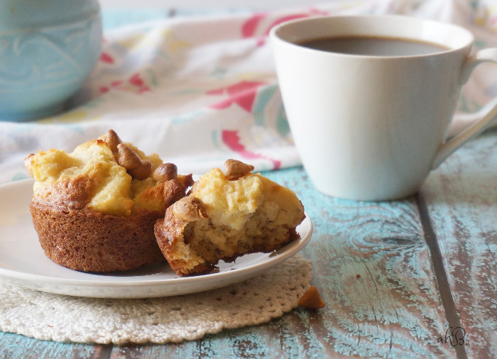 Banana French Toast Muffins, soft and moist banana muffins with a fluffy french toast topping and a sprinkle of peanut butter chips.
