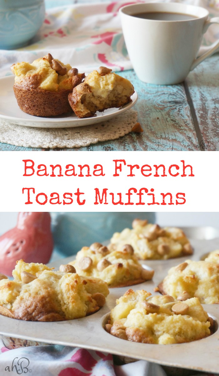 Banana French Toast Muffins, soft and moist banana muffins with a light and fluffy French toast topping and a sprinkle of peanut butter chips.