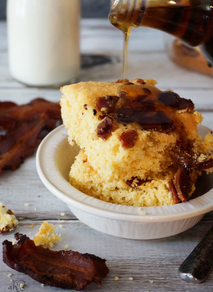 Sweet and savory maple bacon cornbread, a simple twist on cornbread mix that takes 25 minutes.