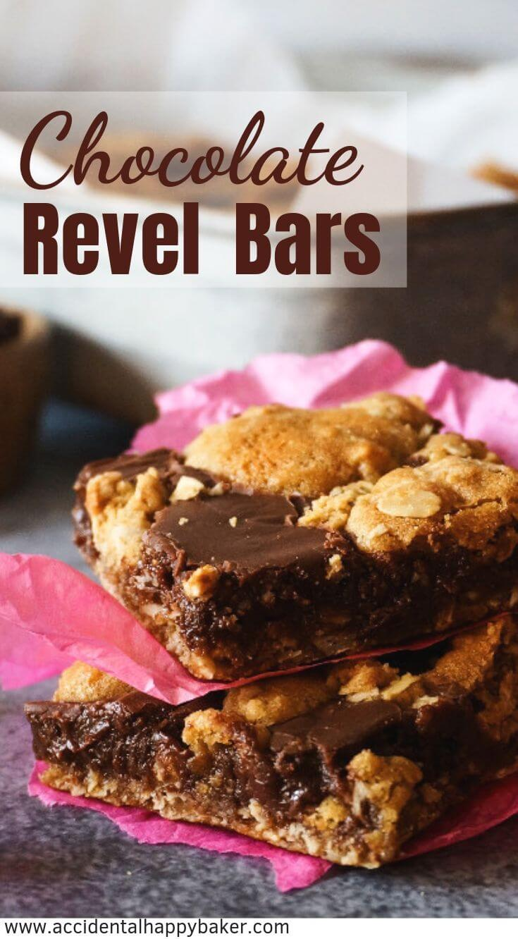 Chocolate revel bars are fudgy, chocolaty, oatmeal and everything good bars!