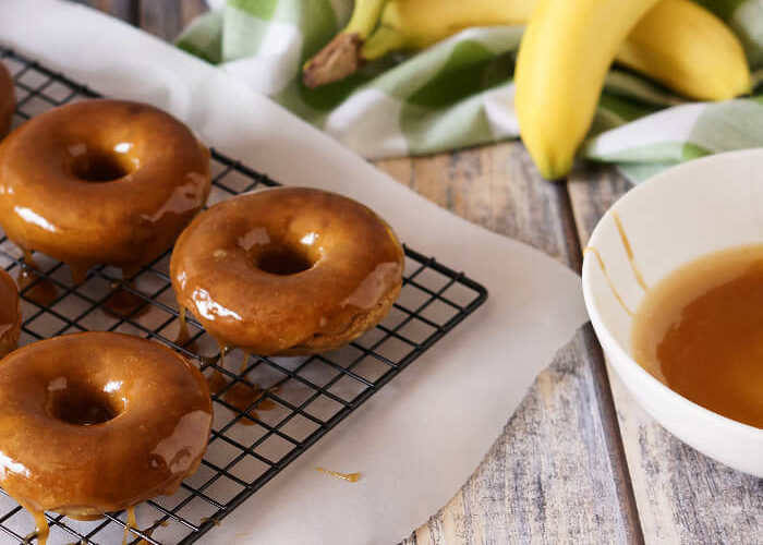 Banana Donuts with Salted Caramel Glaze
