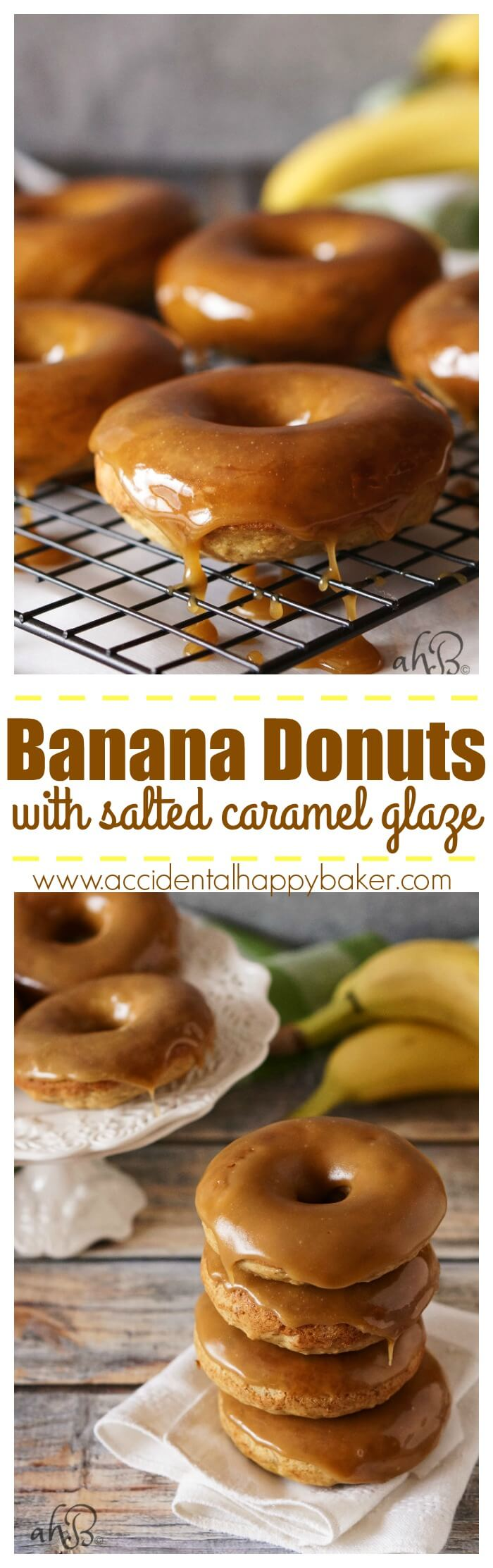Moist banana bread-like donut dipped in a gorgeous buttery dark caramel glaze that sets up so pretty, with a pinch of salt to even out the sweetness. Recipe on www.accidentalhappybaker.com @AHBamy