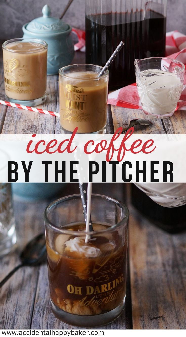 3 simple steps and you've got a pitcher of delicious iced coffee to last you the week! Say goodbye to expensive, over sweetened commercial iced coffee with this easy DIY recipe. #icedcoffee