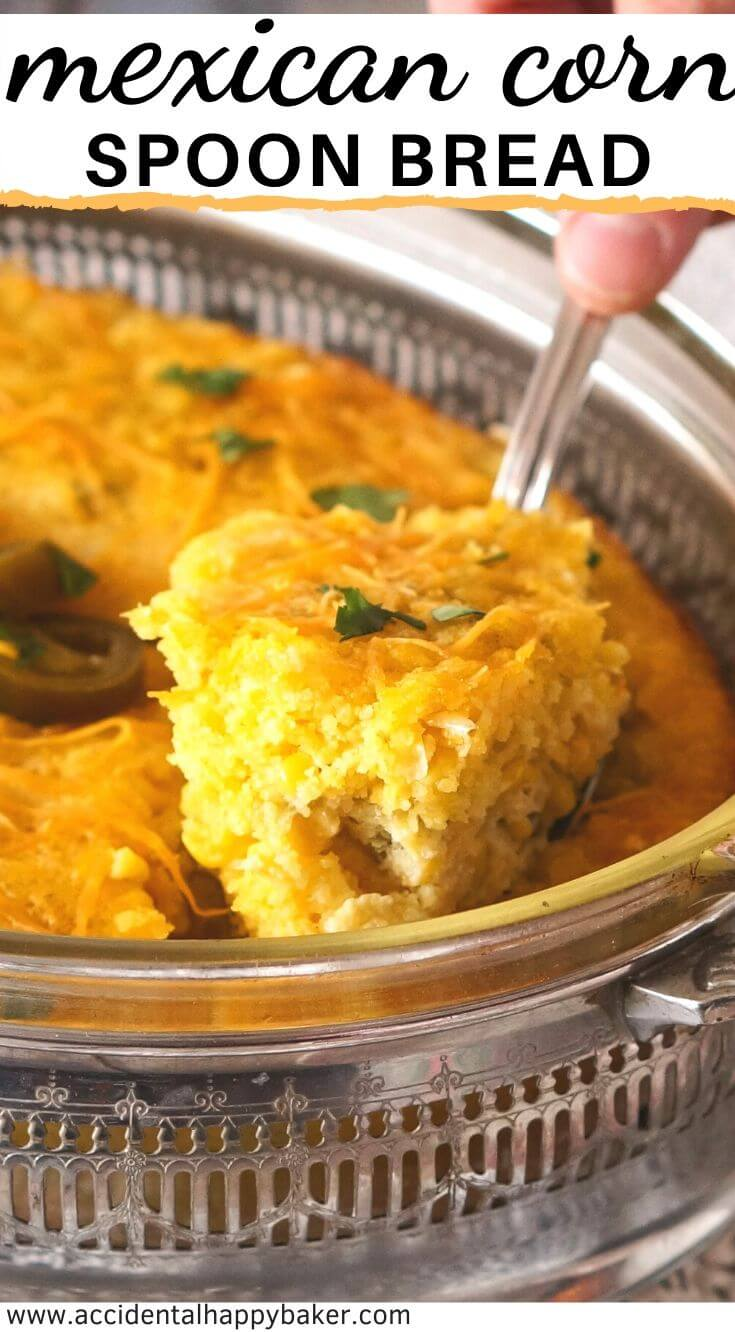 Mexican corn spoon bread is an easy and cheesy dump, stir, and pour cornbread casserole that makes a great side dish!
