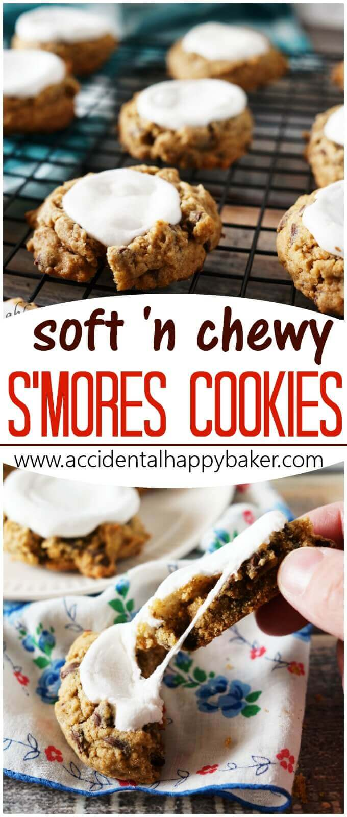 Soft and Chewy Smores Cookies - Loaded with chocolate chips, marshmallows, and graham cracker flavor these are the best smores you'll ever eat!