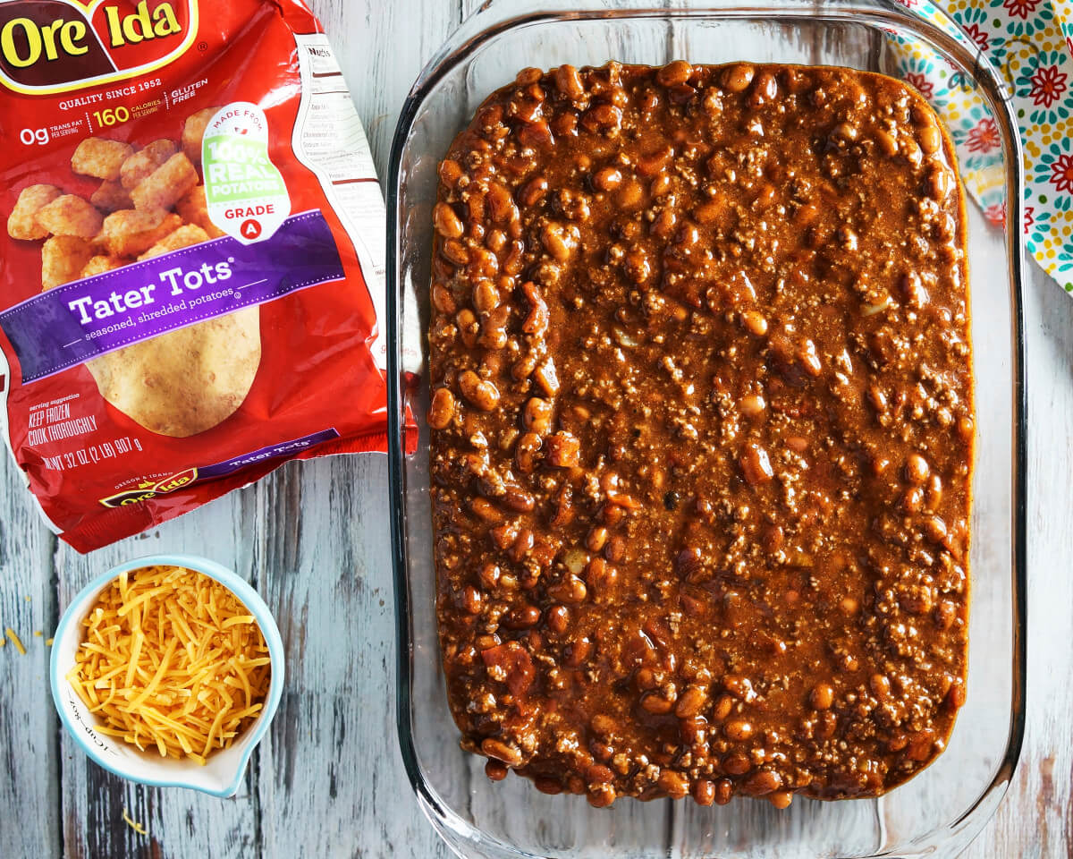 The bottom layer of the casserole is a chili base.