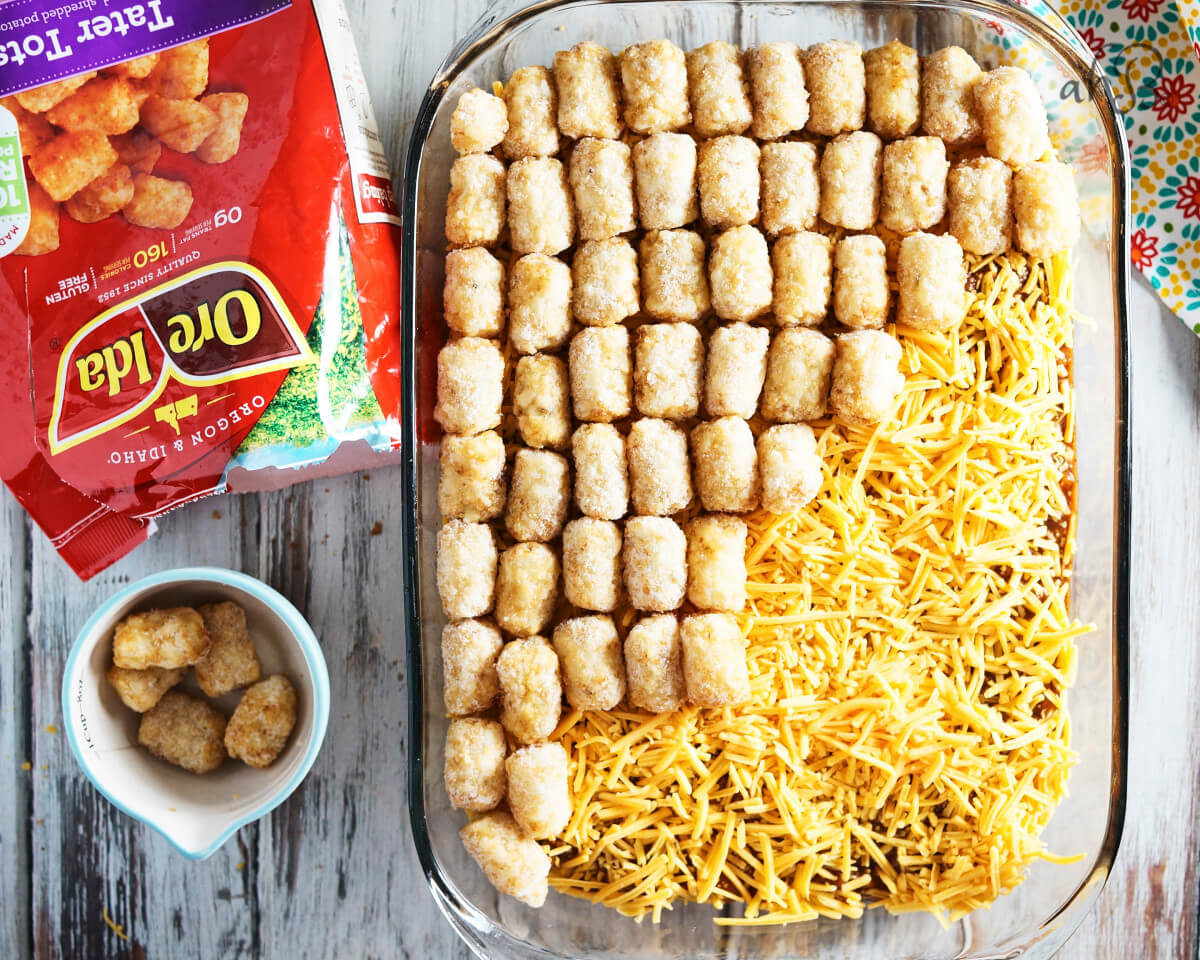 A layer of tater tots goes on top.