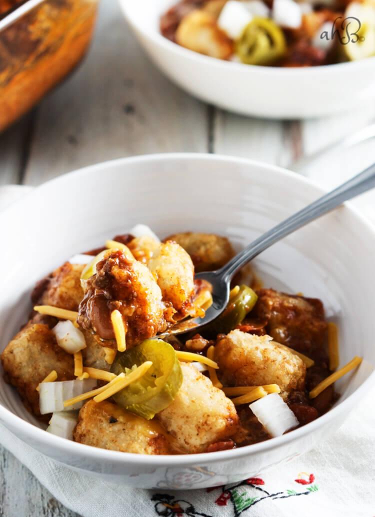 Chili Cheese Tator Tot Casserole