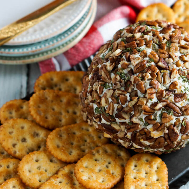 This blue cheese cheese ball has cream cheese, sharp cheddar cheese, and blue cheese blended together for an easy to make and elegant appetizer.