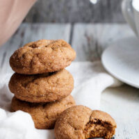 A stack of pumpkin gingersnap cookies.