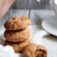 A stack of pumpkin gingersnap cookies.