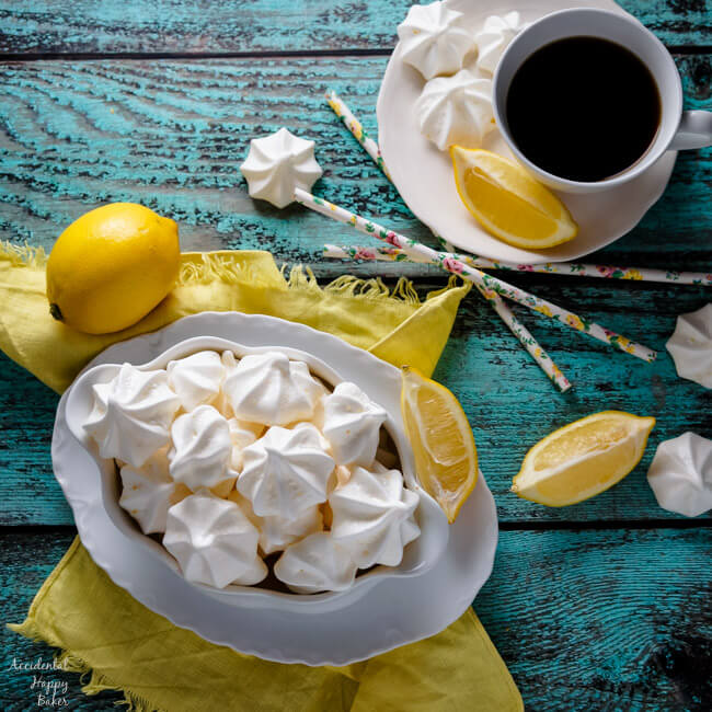 A bowl of lemon meringue kiss cookies