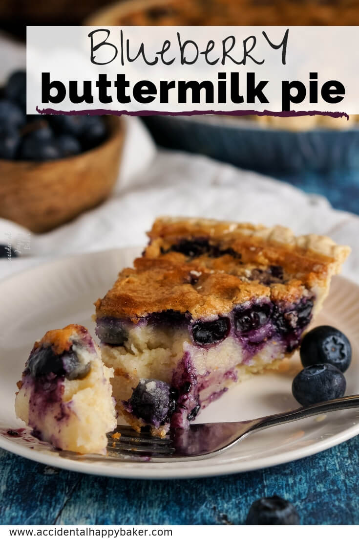 Blueberry buttermilk pie has a rich and creamy filling studded with juicy blueberries nestled in a flaky crust for a simple to make old-fashioned favorite. #pie #blueberry #buttermilk #buttermilkpie #easyrecipe #accidentalhappybaker