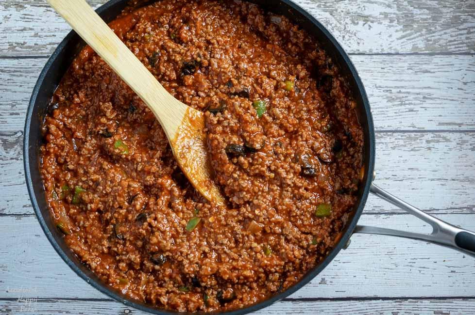 A pan of Italian Sloppy Joe filling ready to be spooned onto the buns.