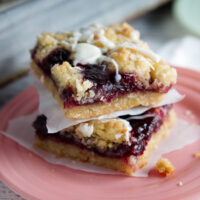 Two Raspberry White Chocolate Shortbread bars sitting on a plate