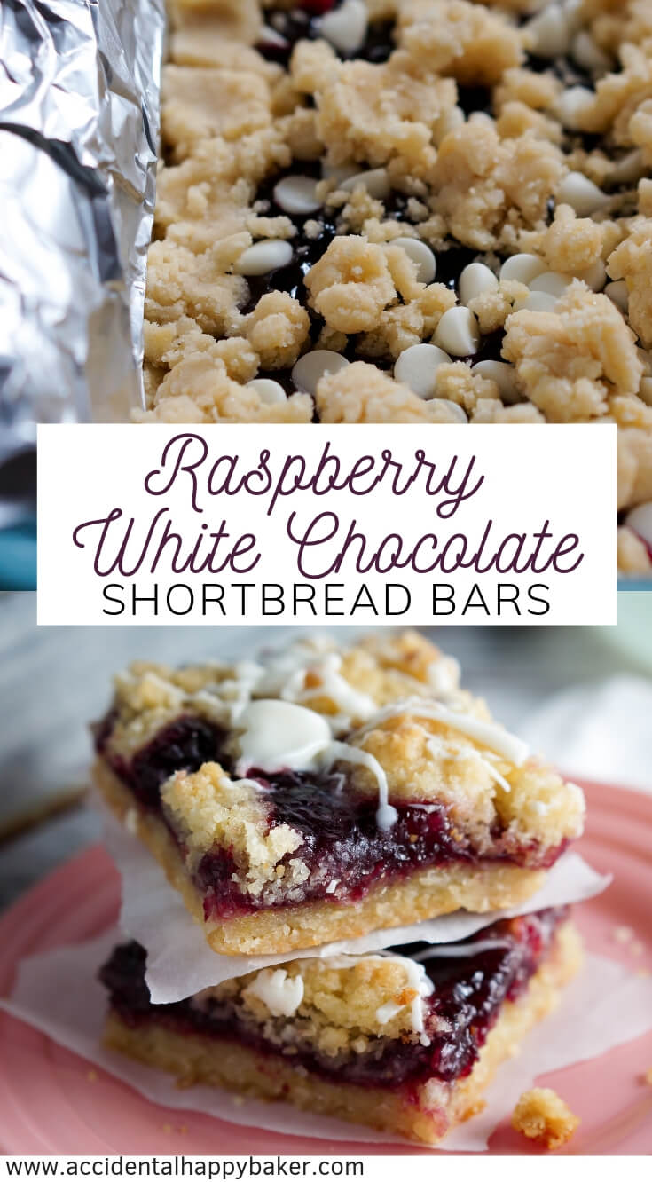Raspberry white chocolate shortbread bars have buttery sweet and crisp shortbread cookie dough sandwiching raspberry jam and white chocolate chips for an easy cookie bar recipe that tastes and looks decadent! #raspberry #cookiebar #shortbreadcookie #whitechocolate #accidentalhappybaker