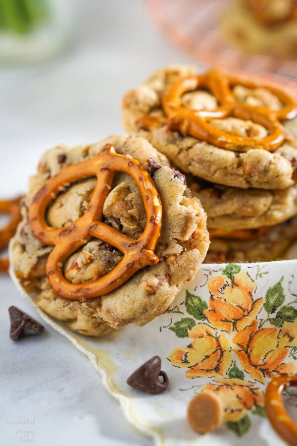 A stack of Peanut Butter Pretzel Chocolate Chip Cookies