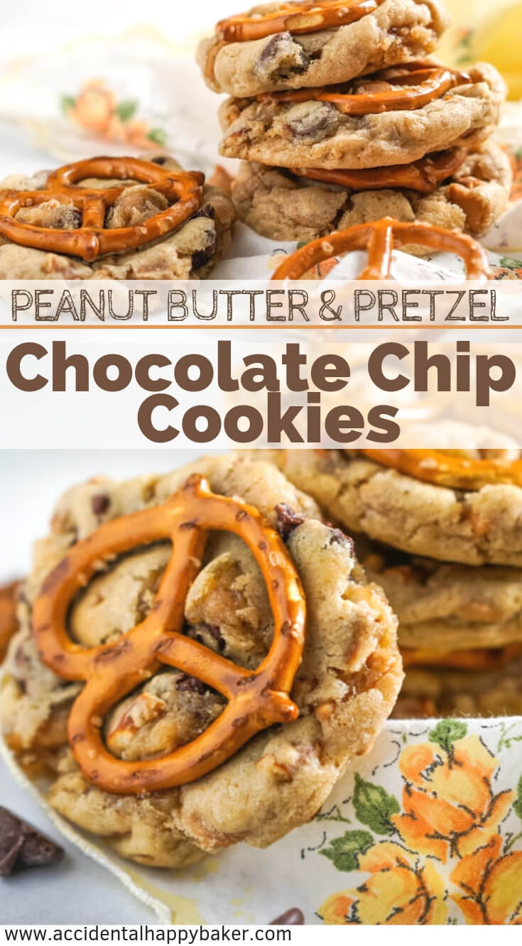 Peanut butter chips and pretzels are added to a chocolate chip cookie base for a sweet and salty, crunchy and chewy cookie. #chocolatechipcookie #cookierecipe #peanutbutter #pretzel