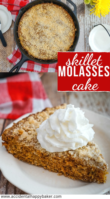 Deep and rich molasses brings the flavor in this simple Molasses Skillet Cake. #skilletcake #molassescake #molasses #easyrecipe #castironskillet