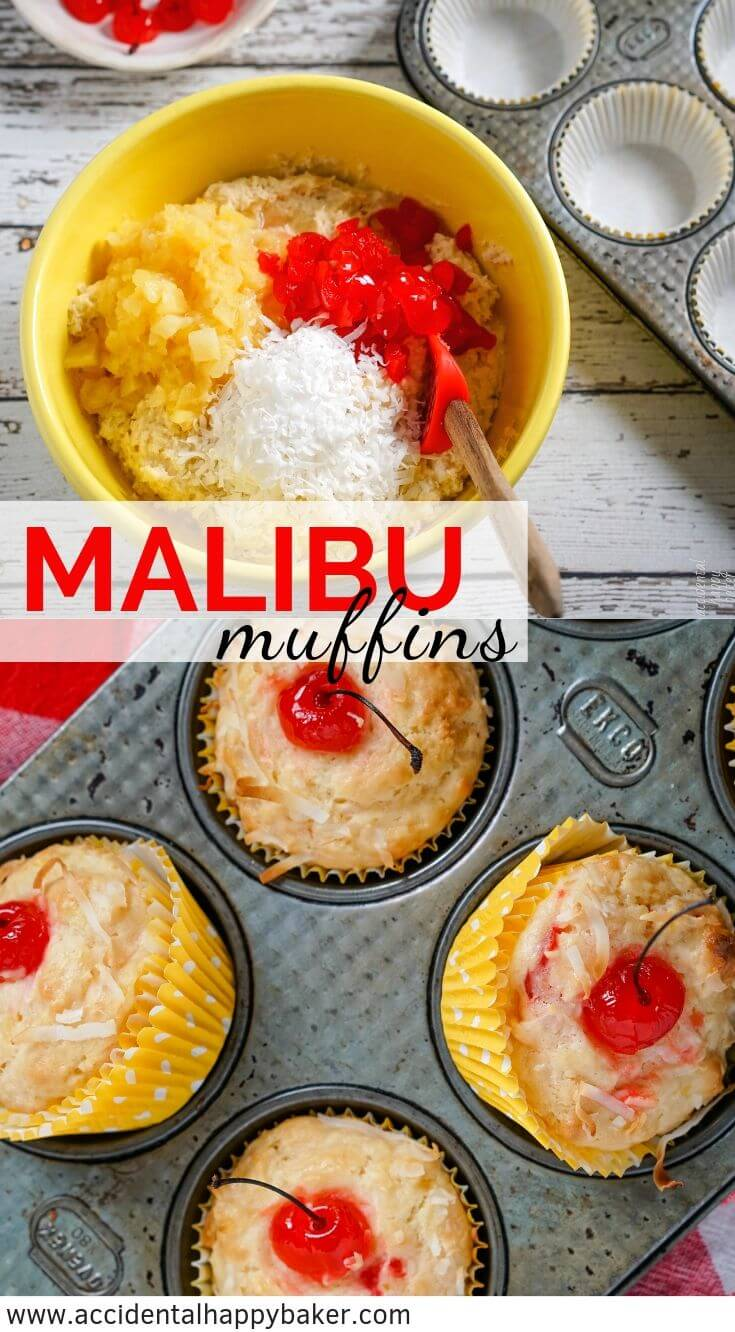Malibu Muffins are full of pineapple, coconut, maraschino cherries, and a hint of rum flavor for a breakfast treat that packs the flavor of summer days sitting beach side. #muffins #pineapple #coconut #tropicalmuffins #accidentalhappybaker