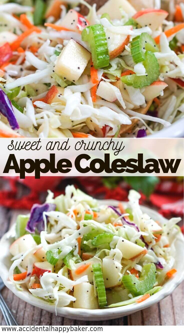 Apple coleslaw is crisp and crunchy with fresh apples, celery and cabbage and topped with a tangy homemade poppy seed dressing. #applecoleslaw #coleslaw #summersidedish #accidentalhappybaker