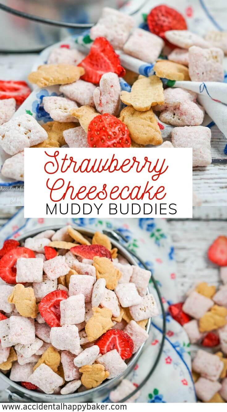 Strawberry Cheesecake Muddy Buddies, strawberry cheesecake flavored muddy buddies with real strawberries and bites of graham crackers. An easy no bake snack mix that everyone will love! #strawberry #cheesecake #puppy #chow #muddy #buddies #recipe #easy #quickly #no #bake #recipe #dessert