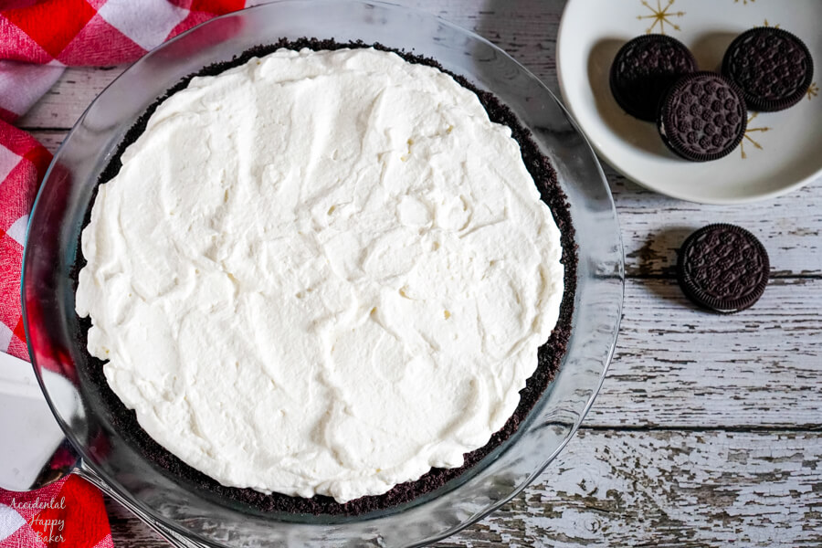 The final layer of the oreo pie is homemade whipped cream.