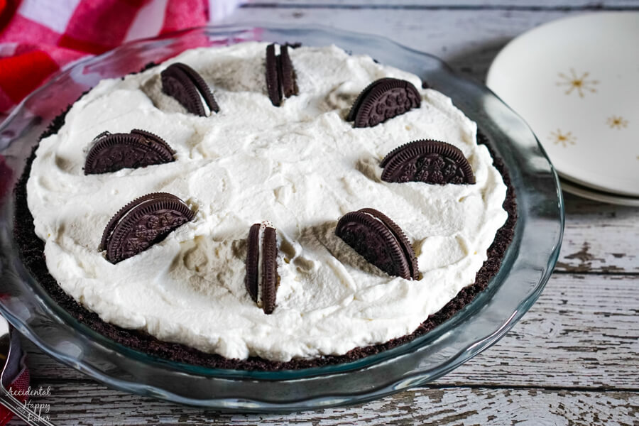 The top of the pie can be decorated with cut oreos.