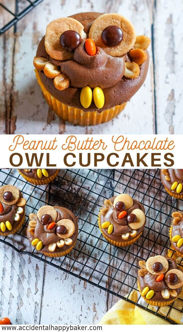 Peanut Butter Chocolate Owl Cupcakes are a hoot! A moist and dense peanut butter cupcake is topped with chocolate frosting, peanut butter candies, cookies and peanuts for a deliciously easy and festive fall dessert. #owlcupcake #peanutbutter #chocolate #halloween #birthday