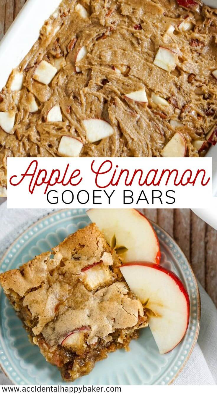 Apple cinnamon bars are part apple blondie and part gooey cinnamon cake. This no fuss recipe yields a dessert with crispy cinnamon brown sugar edges that enfold a gooey apple pecan center. #applecinnamonbars #applebars #accidentalhappybaker