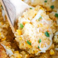 A spoonful of crockpot corn casserole.