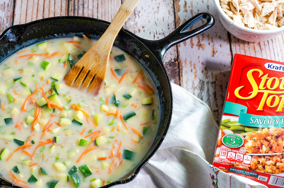 A homemade cream of chicken soup makes the sauce for the Chicken Zucchini Casserole
