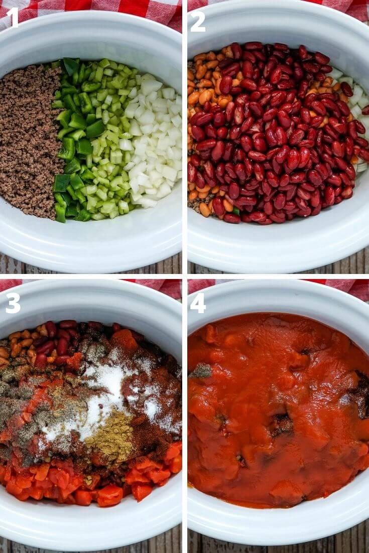 A collage of photos showing the steps to make slow cooker Wendy's Copycat Chili
