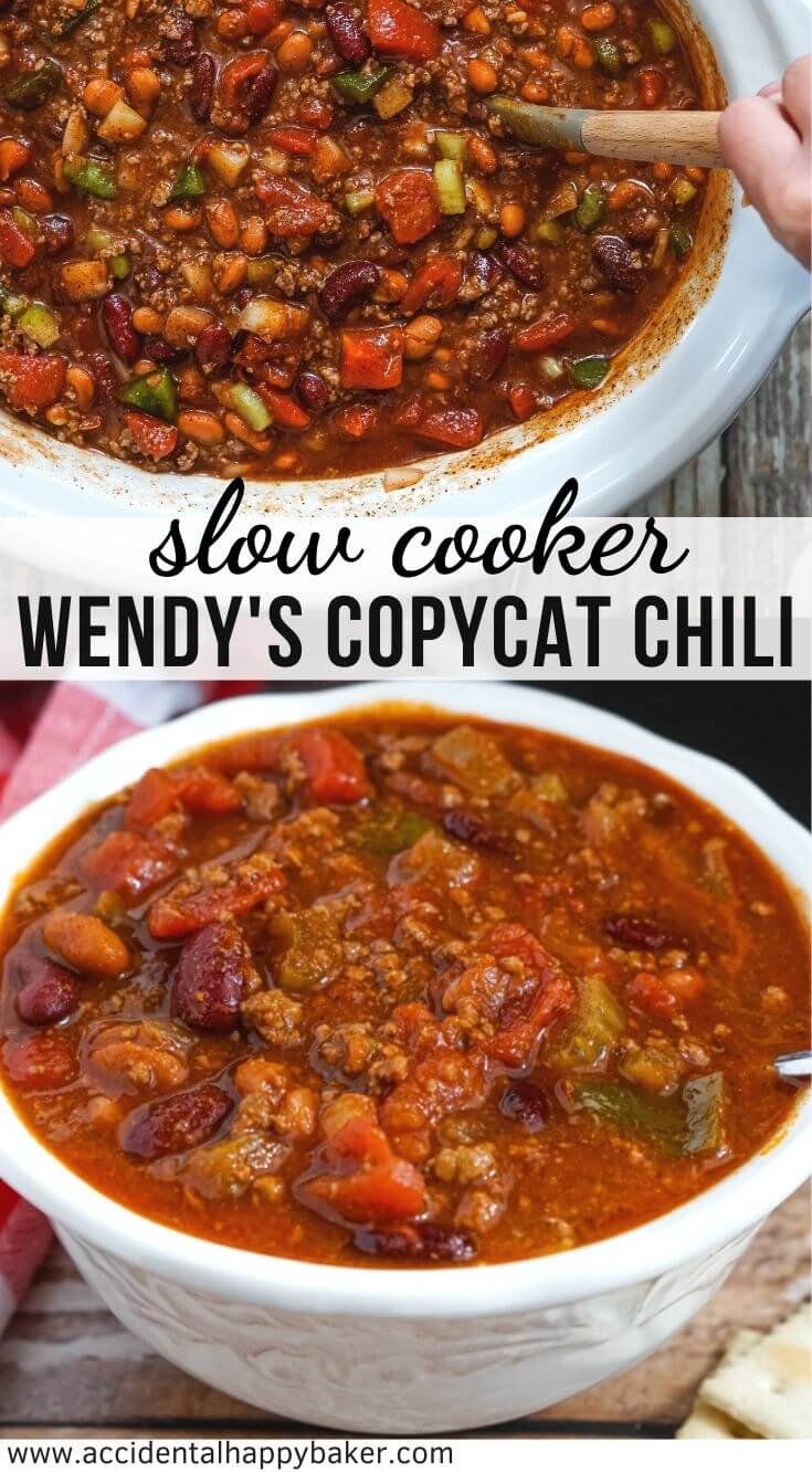 This Wendy's chili recipe is a perfect copycat! Thick and rich chili with a variety of beans, vegetables, and spices. It's the perfect dump and go slow cooker chili. #wendyscopycatchili #slowcookerchili #copycatrecipe #wendyschilirecipe