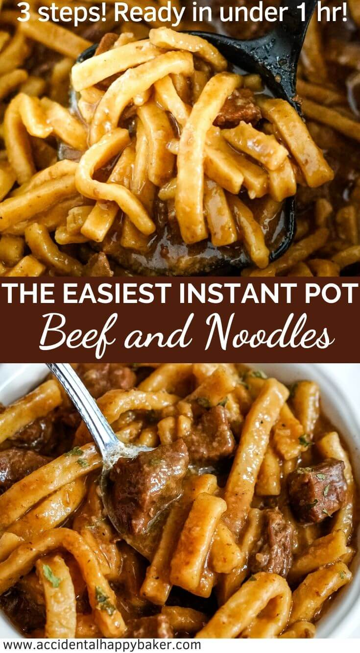 The easiest Instant Pot Beef and Noodles recipe you'll ever try. A traditional hearty beef and noodles recipe in 3 easy steps and under an hour. #instantpot #beefandnoodles #easyrecipe #weeknightdinner