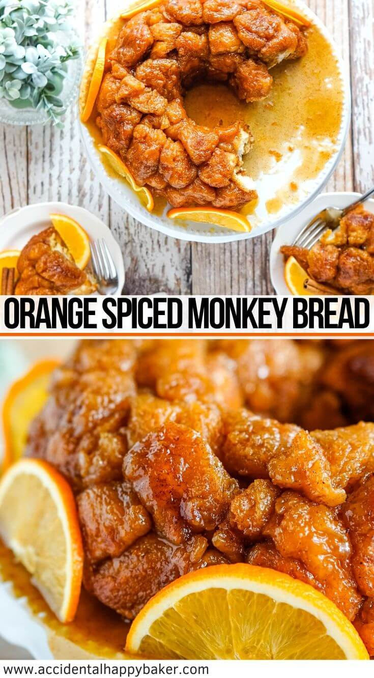 Orange Spiced Monkey Bread, Soft and fluffy biscuit pieces are rolled in orange zest, cinnamon, ground cloves and sugar before being doused in a homemade orange syrup and baked into a golden brown syrupy pull-apart treat! #monkeybread #orangespice
