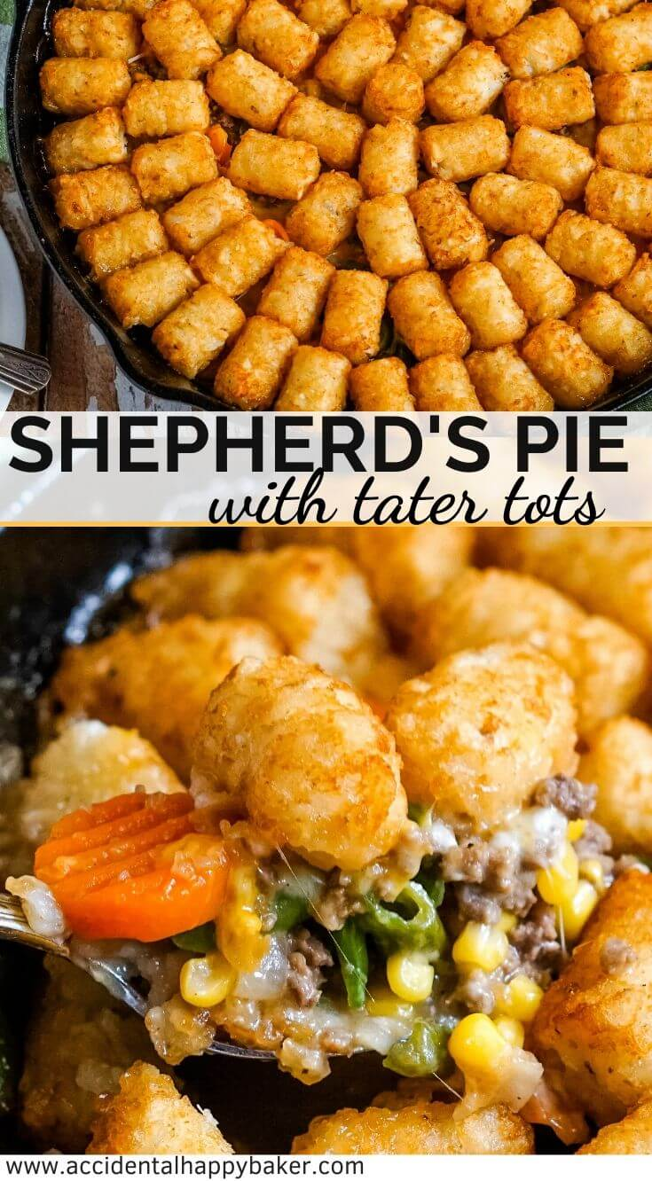 Shepherd's Pie with Tater Tots makes a comfort food classic into an easy one dish weeknight dinner. Ground beef and mixed vegetables in a savory gravy topped with cheese and tater tots. #shepherdspie #tatertothotdish #maindishcasserole #weeknightdinner #accidentalhappybaker