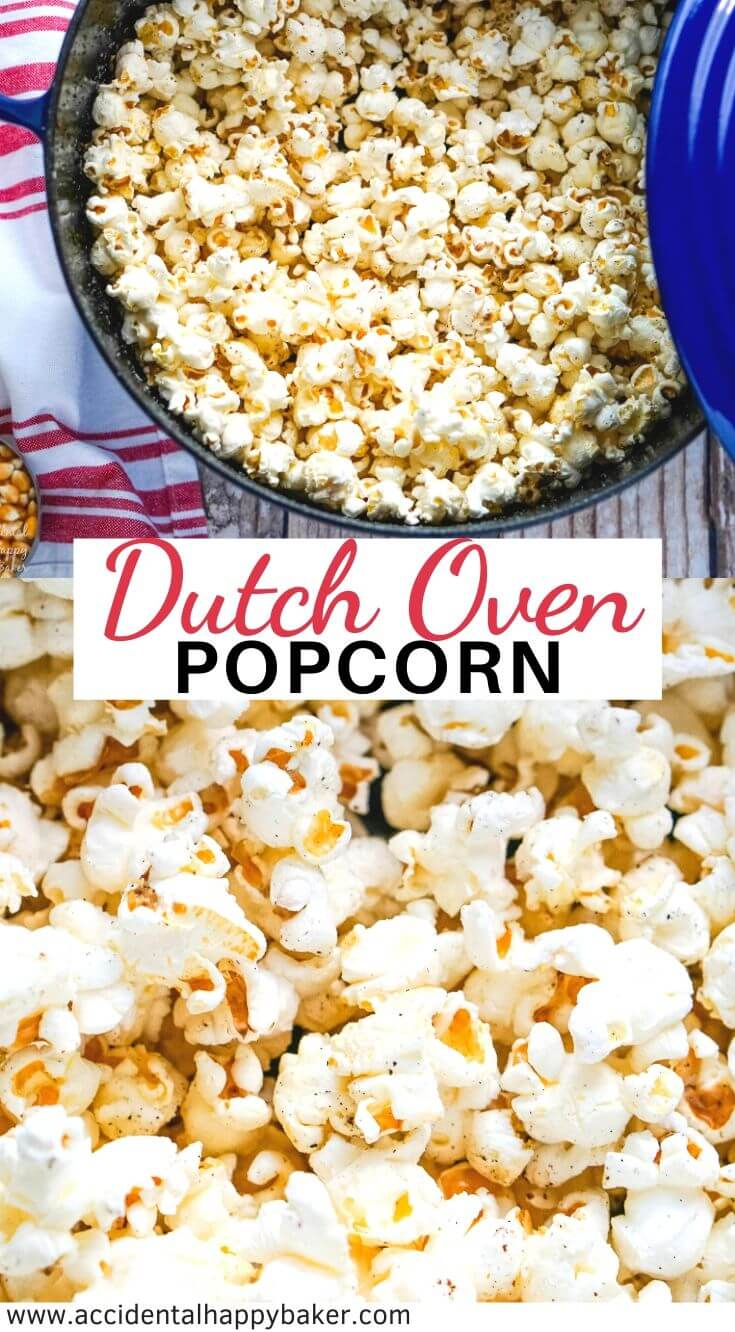 Soft, fluffy and buttery popcorn is easy to make the old fashioned way on the stove top in the Dutch oven. #dutchovenpopcorrn #stovetoppopcorn