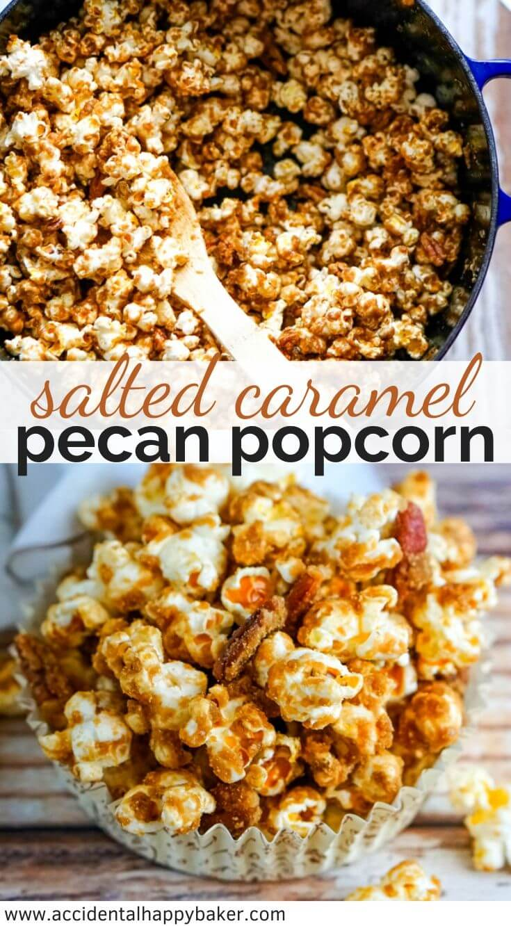 Buttery dark caramel with a touch of salt makes the perfect candy coating for popcorn and pecans.