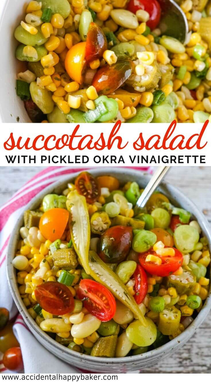 Succotash Salad is a fresh twist on the classic succotash that's perfect for summer backyard BBQ's. This salad is full of veggies like corn and lima beans and tossed with a zippy pickled okra vinaigrette.