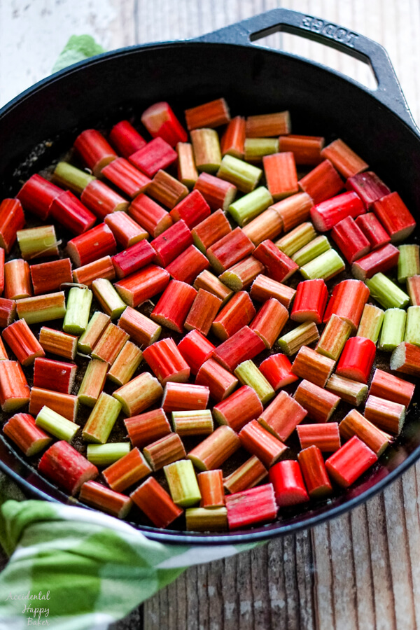 Chopped rhubarb goes on top of the sugar topping.