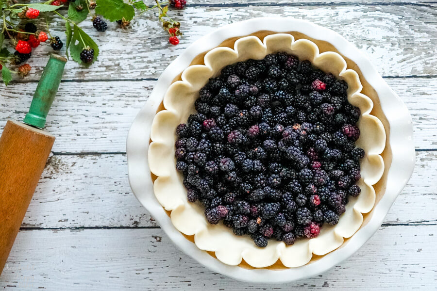 Frozen blackberries are added to the piecrust.
