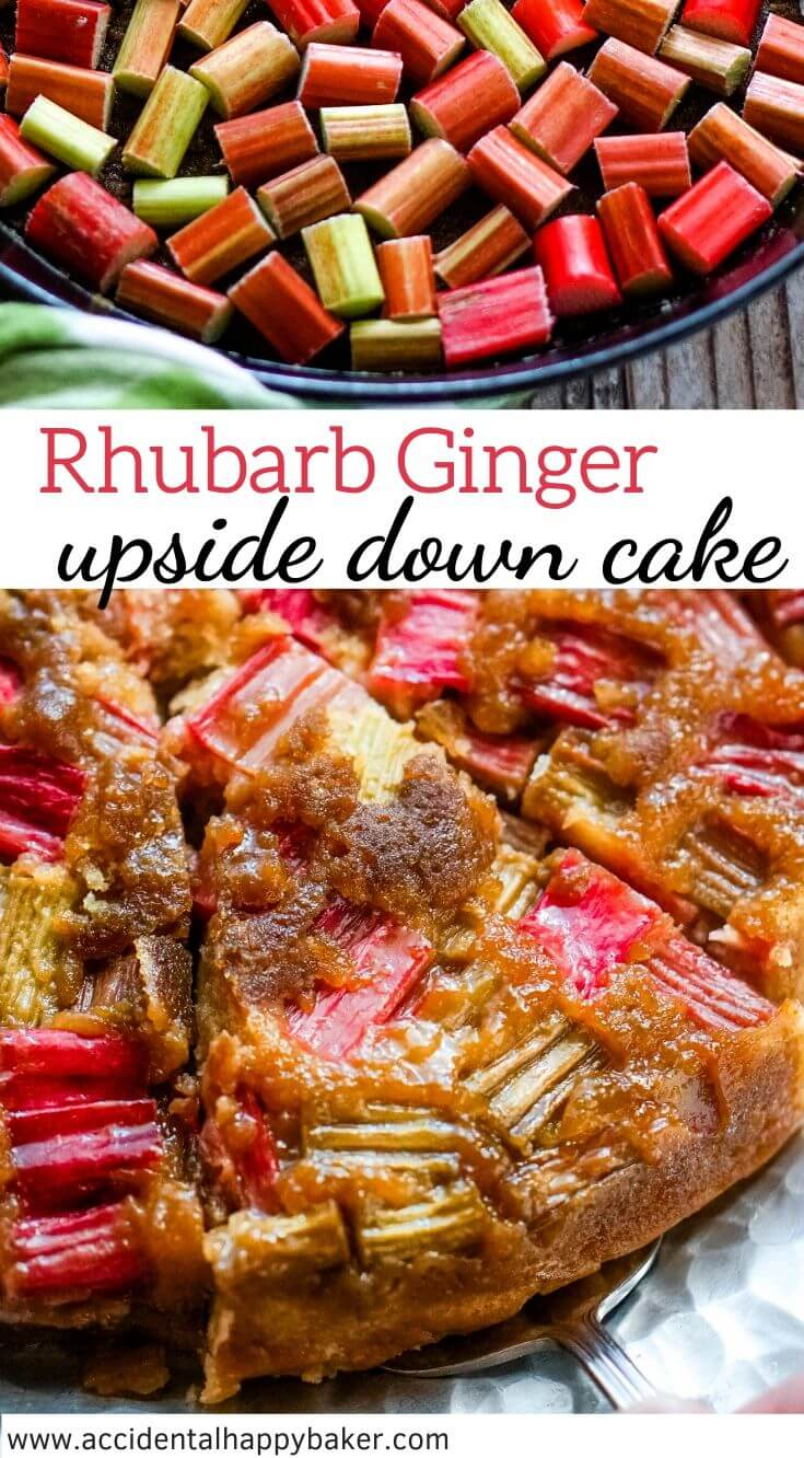 Rhubarb ginger upside down cake makes a simple and sweet, but stunning dessert with an old fashioned flavor.