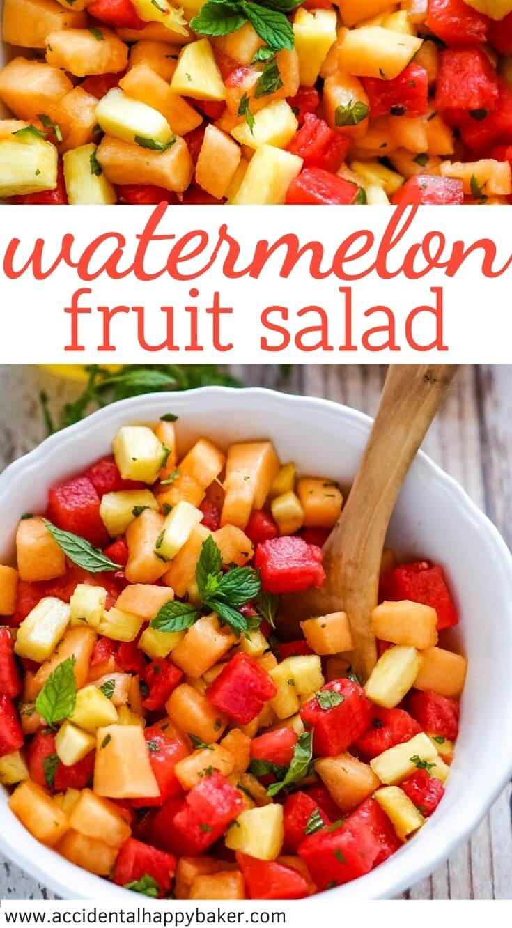 Watermelon Fruit Salad is vibrant, fresh and 100% guilt free! Watermelon, cantaloupe and pineapple are tossed with fresh mint and a honey balsamic dressing for a refreshing summer salad that is perfect for backyard bbq's, parties and potlucks.