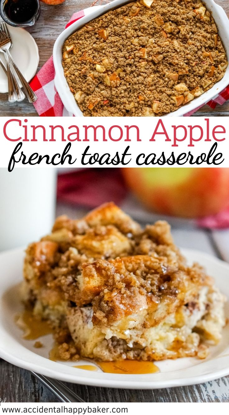 Loaded with baked apples and topped with cinnamon streusel, Cinnamon Apple French Toast Casserole is the perfect easy make ahead breakfast