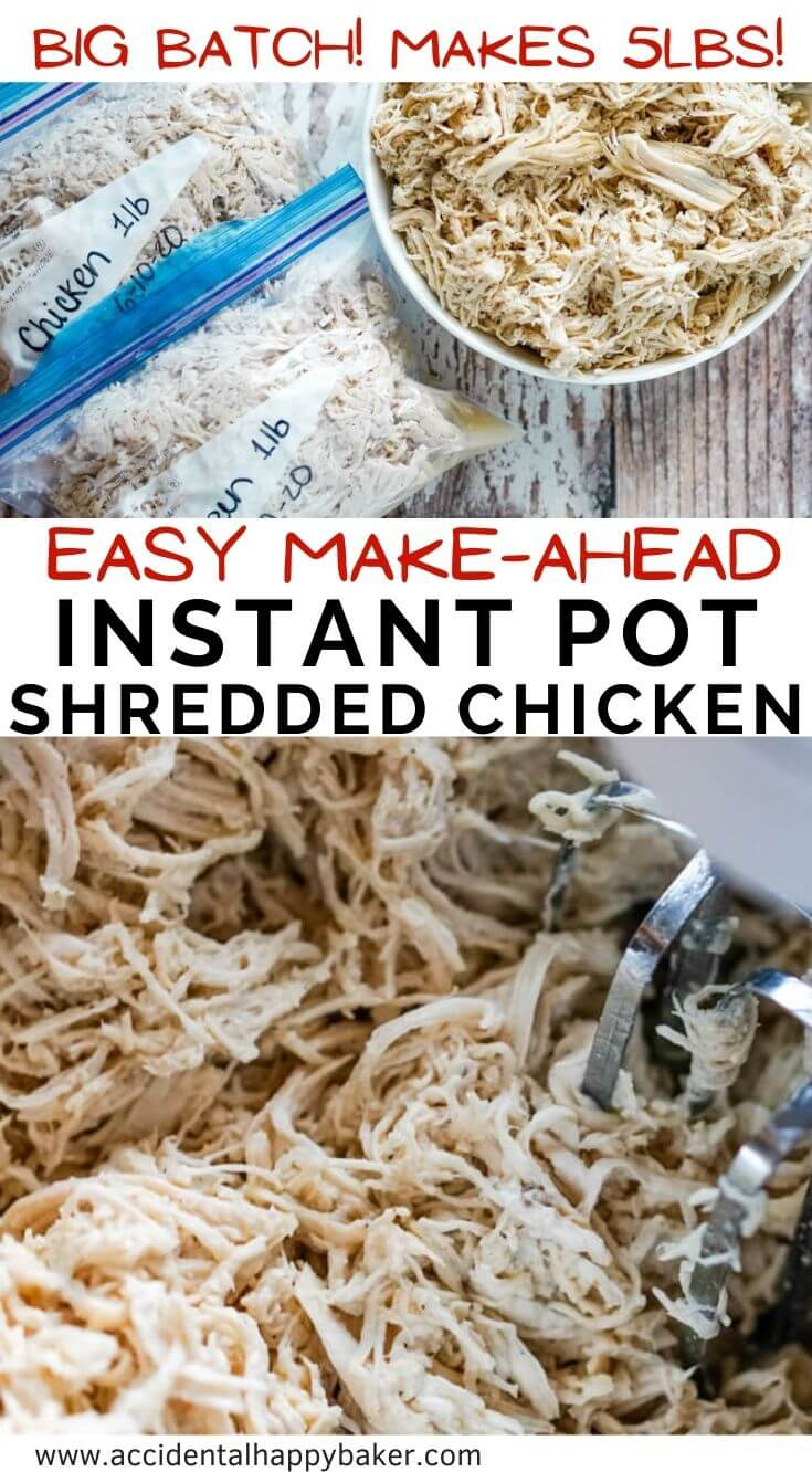 This Instant Pot Shredded Chicken recipe is such a time saver! Easily make a big batch, 5 pounds, of juicy and tender shredded chicken to use now or freeze for later.