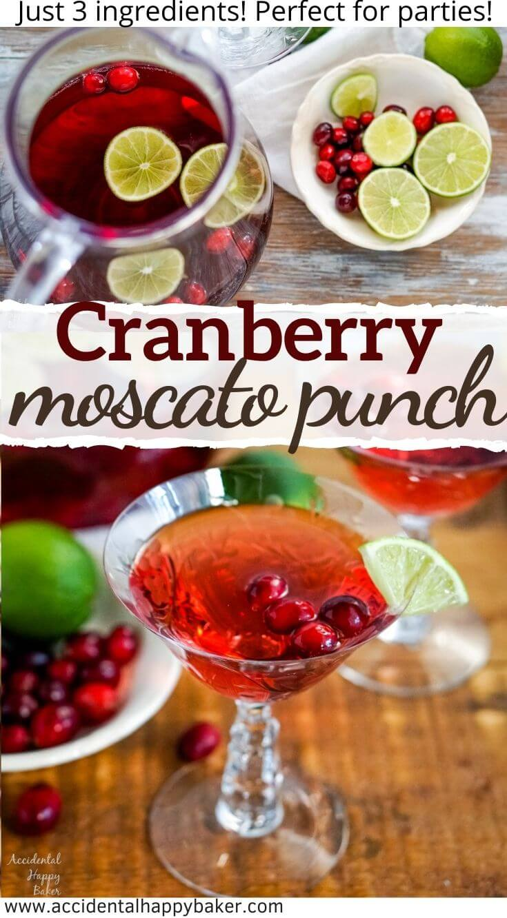 Bubbly, sweet and tart! This easy 3 ingredient cranberry moscato wine punch is perfect for parties.